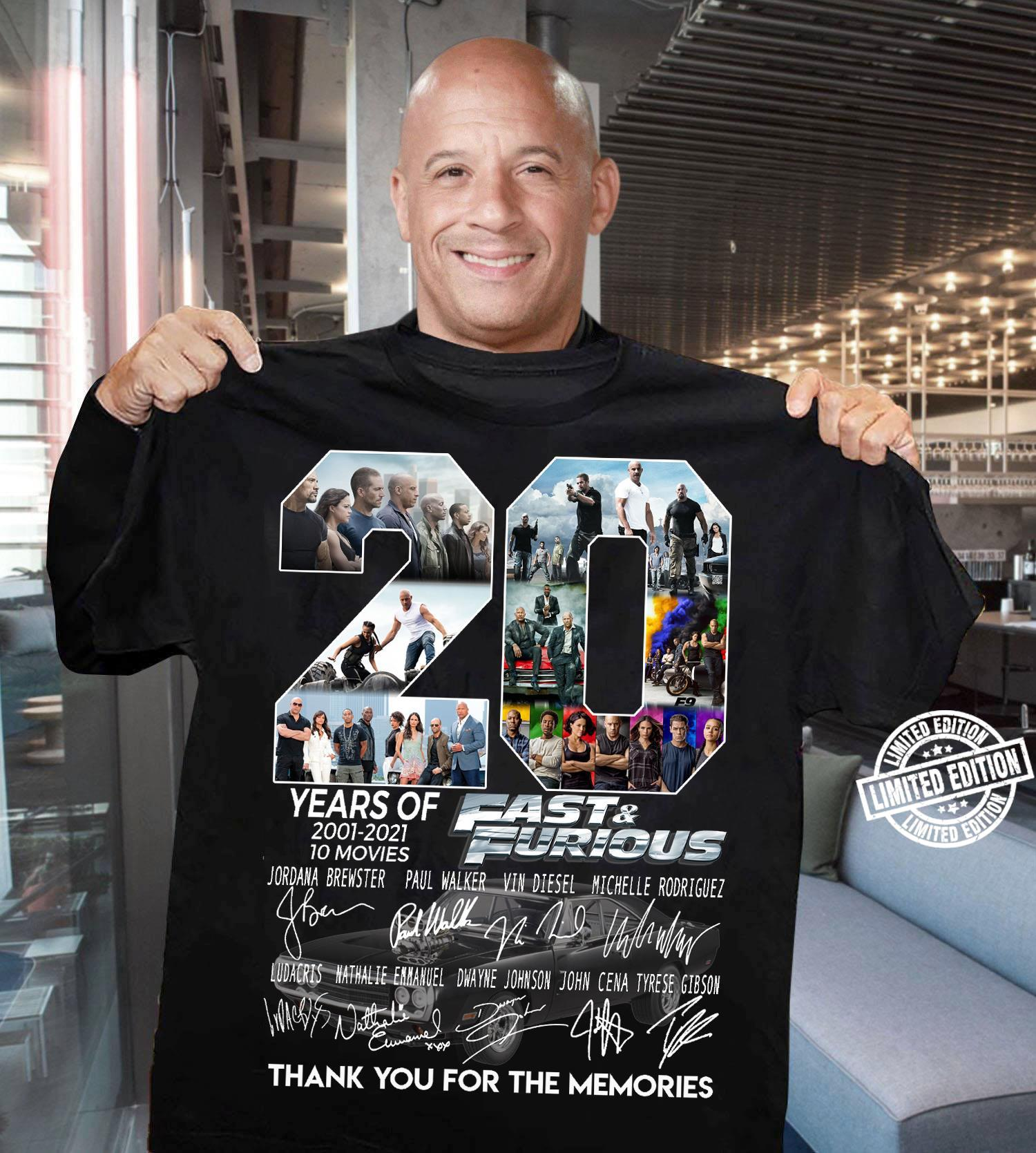 20 Years Of Fast And Furious 2001 2021 10 Movies Thank You For The Memories Shirt