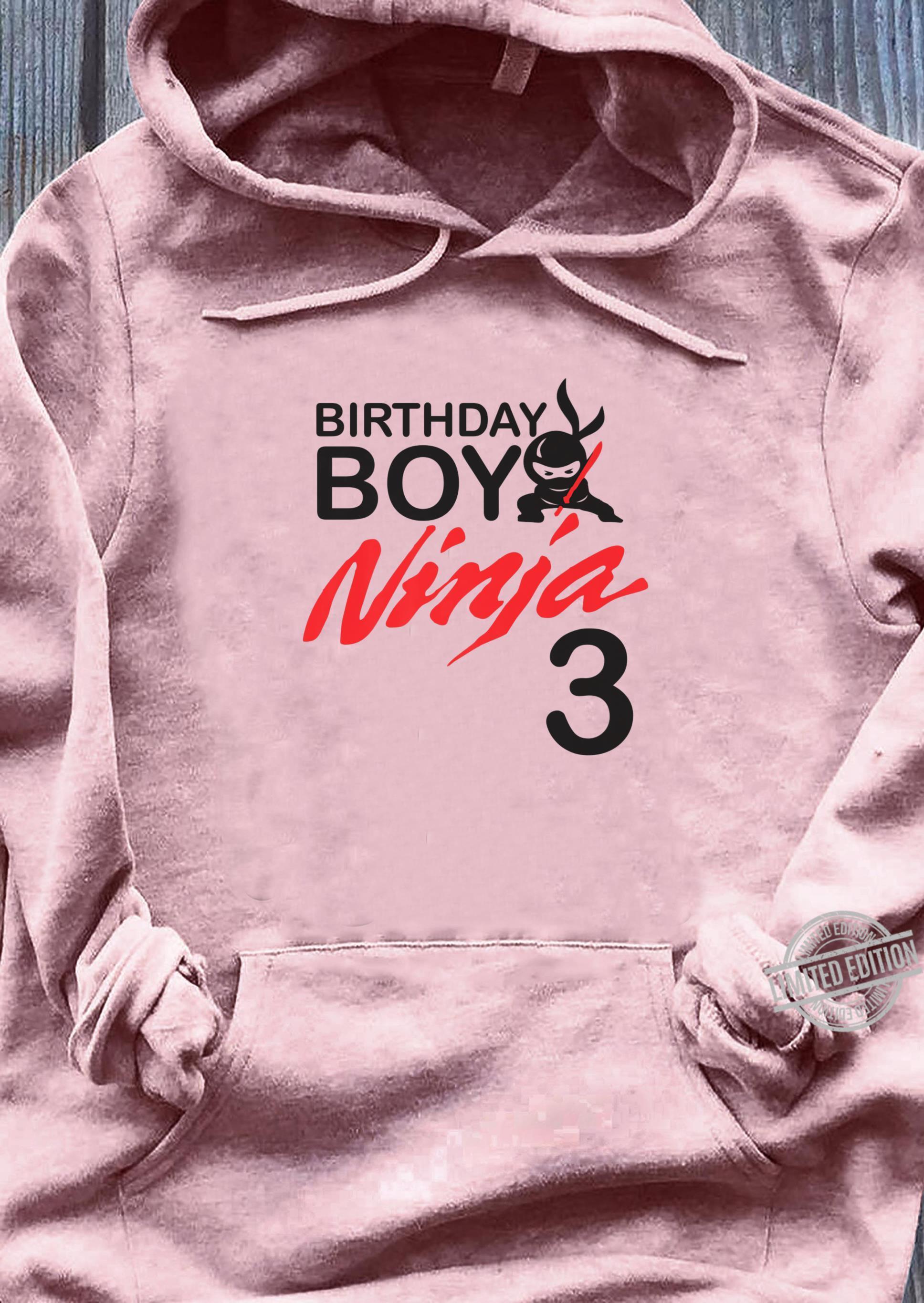Birthday Boy Ninja 3 birthday party 3 year old ninja bday Shirt ladies tee