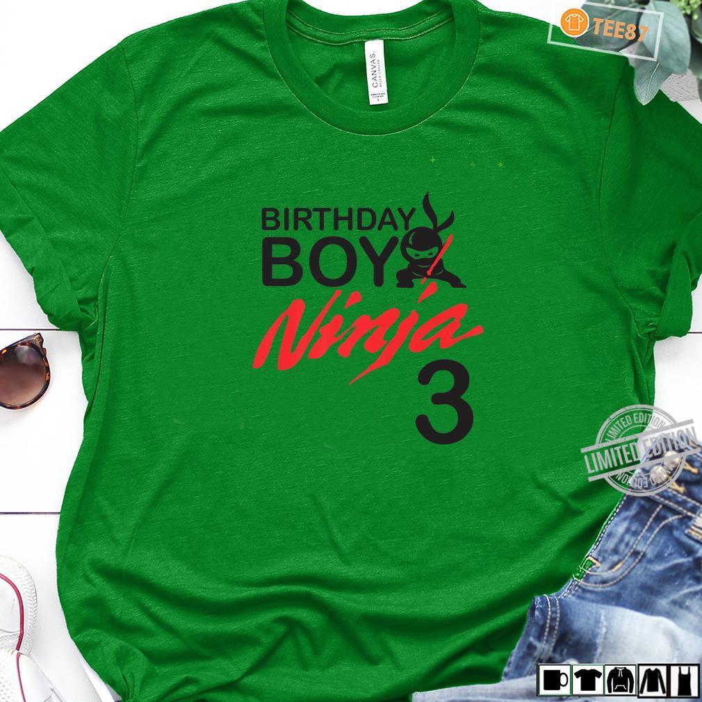 Birthday Boy Ninja 3 birthday party 3 year old ninja bday Shirt long sleeved
