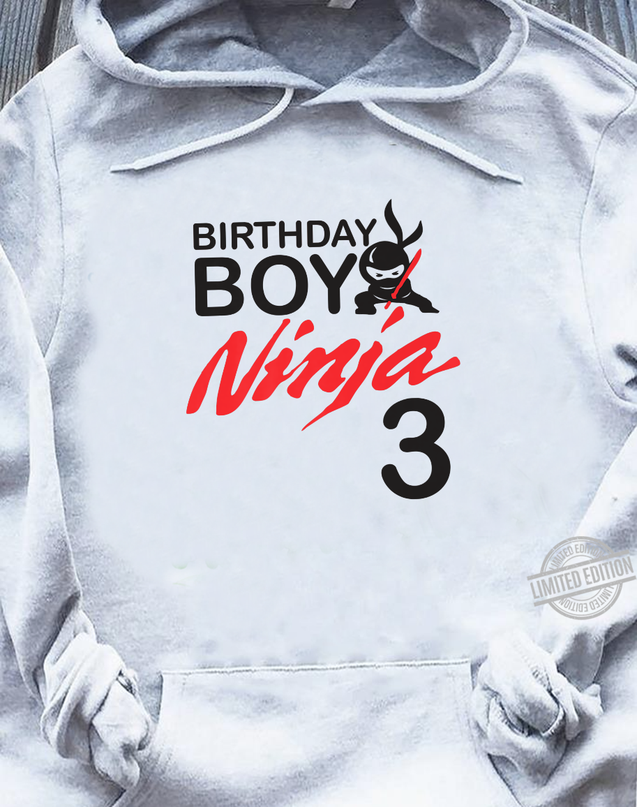 Birthday Boy Ninja 3 birthday party 3 year old ninja bday Shirt sweater
